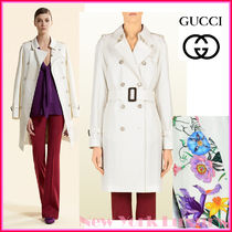 GUCCI★グッチ★素敵!WHITE COTTON TRENCH COAT FLORAL LINING
