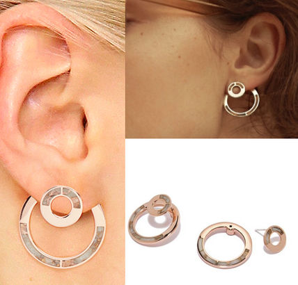 Pamela Love earrings natural stone hoop ear jacket stone