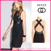 GUCCI★グッチ★素敵!SILK JERSEY WITH LEATHER TRIM DRESS