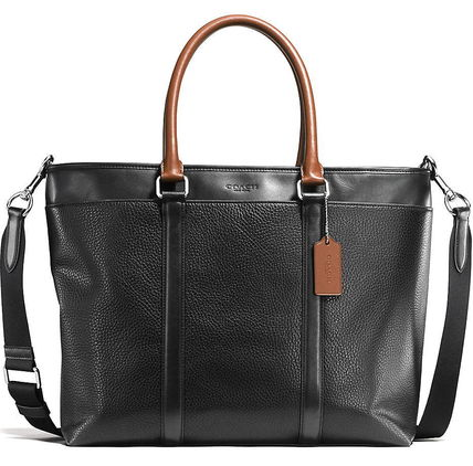 popular black COACH pettanko Bull leather business tote