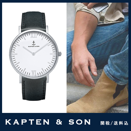 "送料税込【KAPTEN&SON】Silver ""Black Leather""国内発送☆"