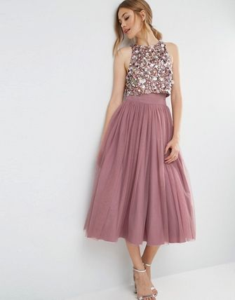 *関税送料無料* ASOS Embellished Mesh Crop Top Midi Dress