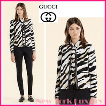 GUCCI★グッチ★素敵!GUCCI ANIMAL PRINT LEATHER TRIM JACKET