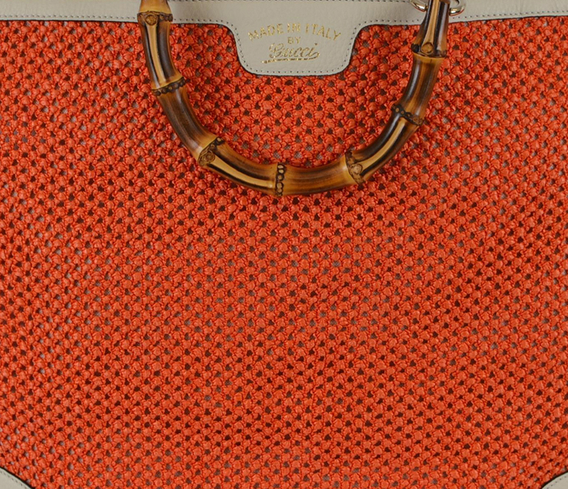 GUCCI★グッチ★素敵!Large Orange Straw Bamboo Handle Tote