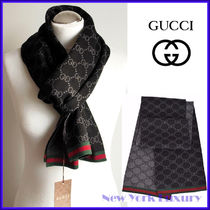 GUCCI★グッチ★素敵! Wool Reversible Black/Gray Web Scarf