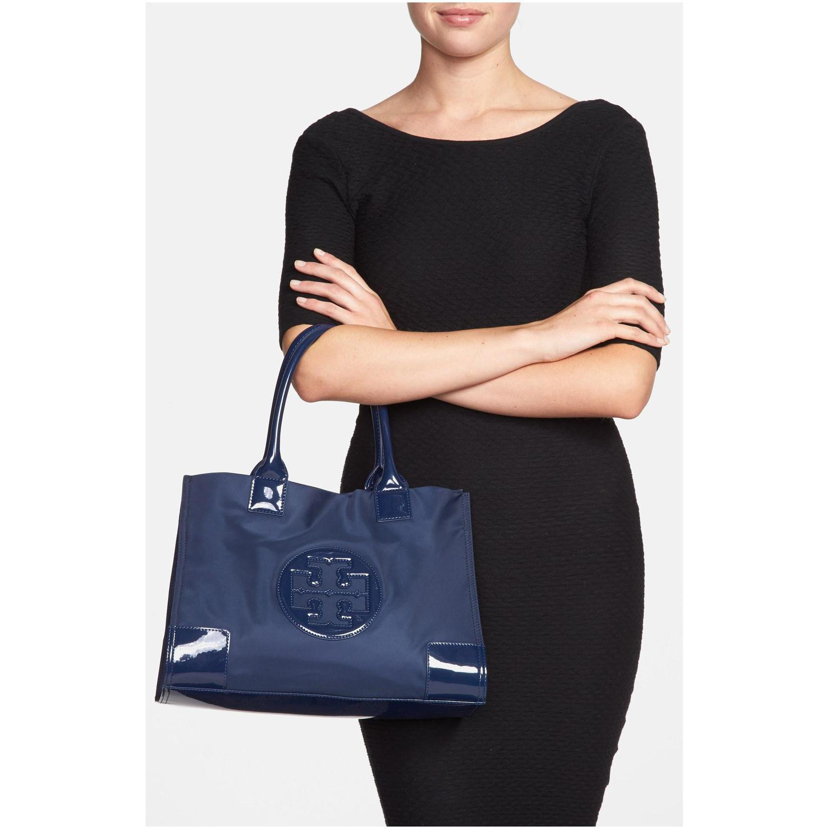 57f701761657 NWT Tory Burch Women s Ella Nylon Top-Handle Tote (Two size Black and  French Na)