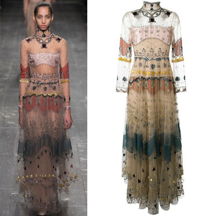 16-17AW V546 LOOK74 EMBELLISHED SILK / TULLE GOWN