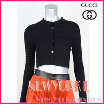 GUCCI★グッチ★素敵!BLACK RIBBED CROPPED CARDIGAN