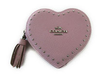 【返品可】COACH Edge Studs Heart Coin Case 65491B