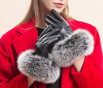 Fur leather nappa leather gloves 2 colors