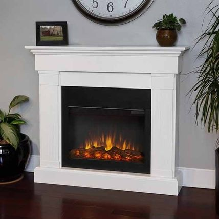 Crawford Slim Line White Electric 47.4-inch Fireplace