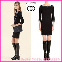 GUCCI★グッチ★素敵!BLACK BOAT NECK DRESS W/ LEATHER DETAIL