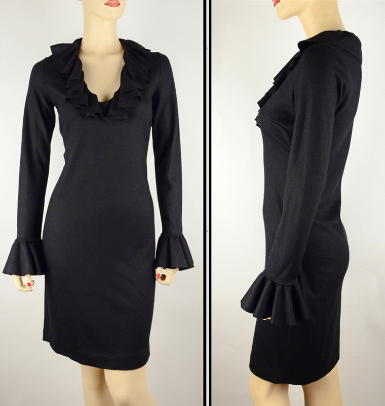 GUCCI★グッチ★素敵!BLACK WOOL V-NECKLINE W/ RUFFLES DRESS