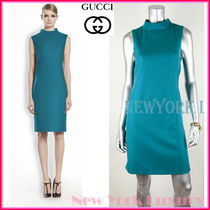 GUCCI★グッチ★素敵!TURQUOISE FLANNEL MOCK NECK DRESS