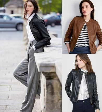 Paris from La Redoute refined design leather jacket