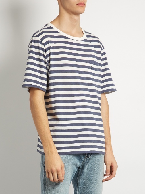 【David Beckham愛用】☆海外限定☆Patch-pocket striped jersey