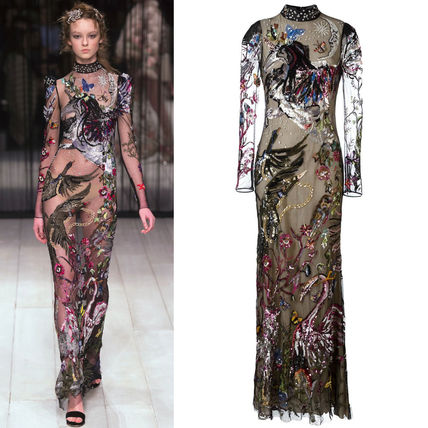 16-17AW AM091 LOOK38 BIRDS & FLOWER EMBROIDERY GOWN