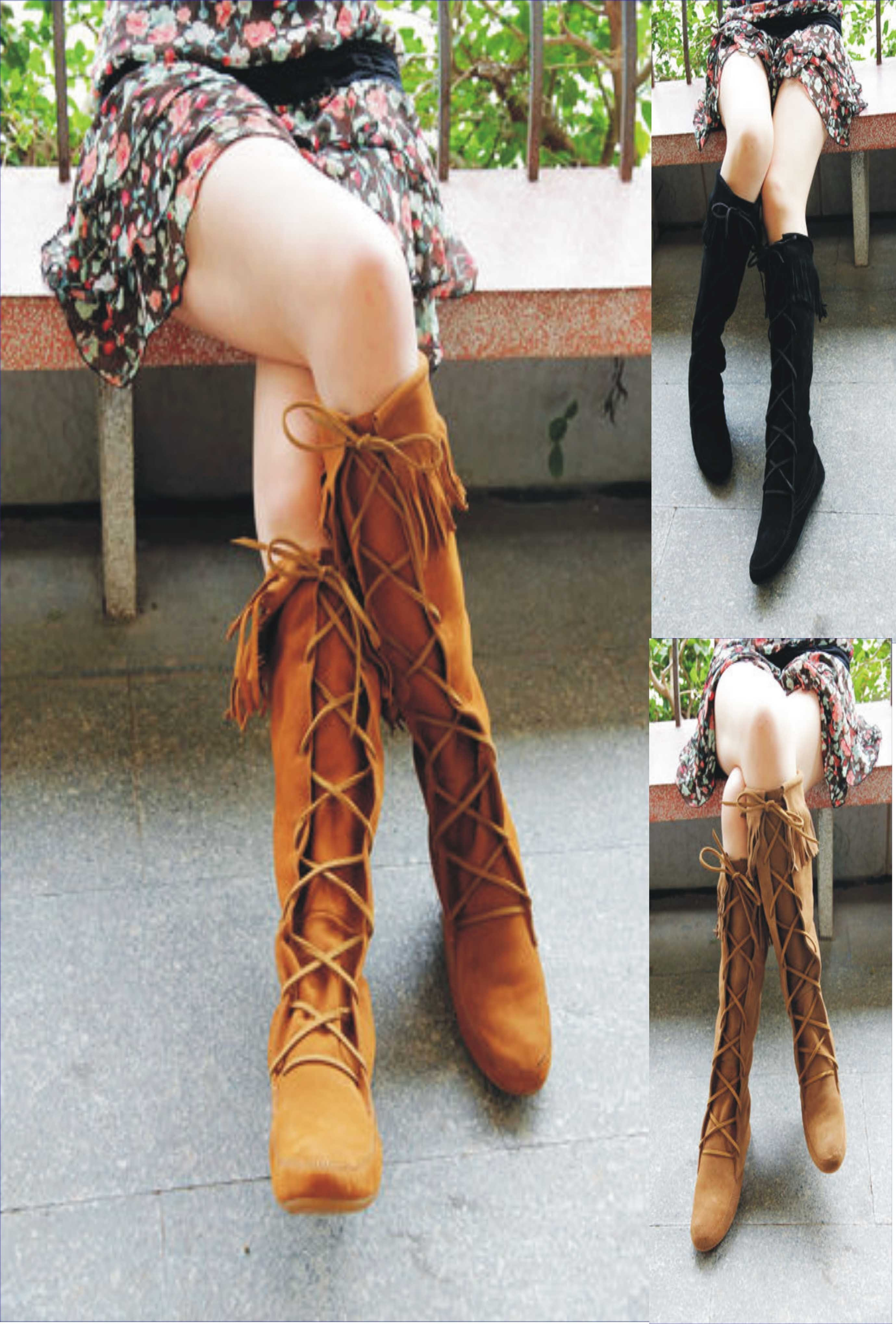 ★Minnetonka:Front Lace Hardsole  Knee Hi Boot★