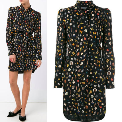 16-17AW AM105 'OBSESSION' SILK CREPE SHIRT DRESS WITH BOW