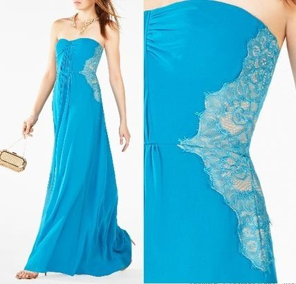 He's very GOOD SALE BCBG MAXAZRIA sky-blue lace long dress