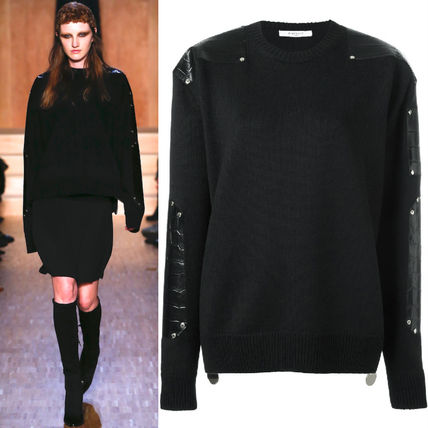 16-17 AW G077 LOOK33 LEATHER TRIMMED OVERSIZE SWEATER
