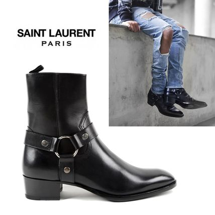 SAINT LAURENT ICONIC HARNESS LEATHER ANCLE BOOT BLACK