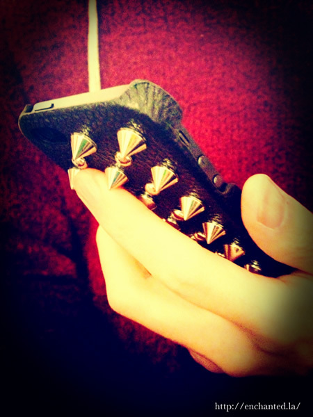 限定★【enchanted.LA】 SPIKE STUDDED LEATHER iPhone COVER