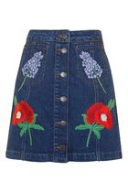 《刺繍がポイント♪》☆TOPSHOP☆MOTO Floral Embroidered Skirt