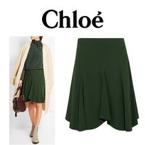 CHLOE DRAPED CADY SKIRT FOREST-GREEN