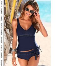 VENUS*TANKINI TOP& LOW RISE BELTED BOTTOM