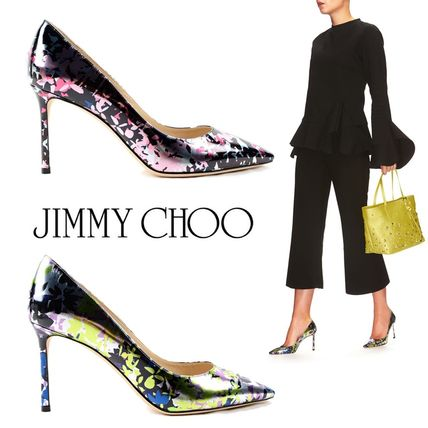 JIMMY CHOO ROMY 85mm Camoflower Print Mirror Leather Pumps
