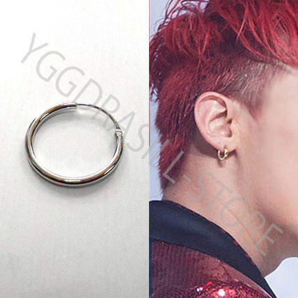 YGG new hoop earrings silver-colored one 20 G g-dragon