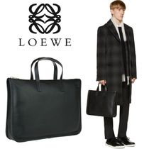 LOEWE BLACK LEATHER EMBOSSED BRANDROGO BRIEFCASE