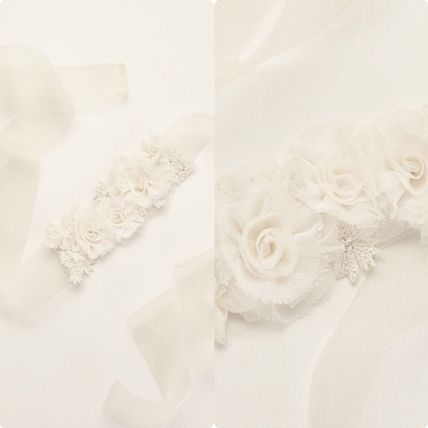 関税込み★Vera Wang★Horsehair Sash with Crystals  Organza