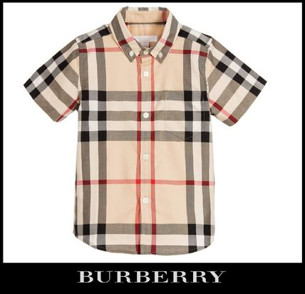 BURBERRY 17SS adult OK check short sleeve shirt 4-14Y