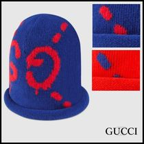 GUCCI☆GhostロゴGGニットキャップ☆ブルー/レッド☆16-17AW