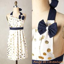 Anthropologie(アンソロポロジー) エプロン 国内発送☆anthropologie★Gold Polka Dotted Apron