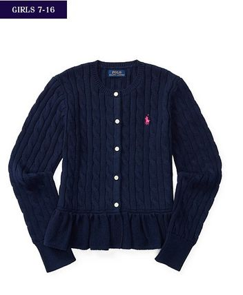 新作!大人もOK♪ 4色 CABLE COTTON PEPLUM CARDIGAN girls 7~16