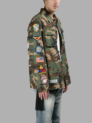 OFF WHITE MULTI PATCHED CAMOUFLAGE JACKET