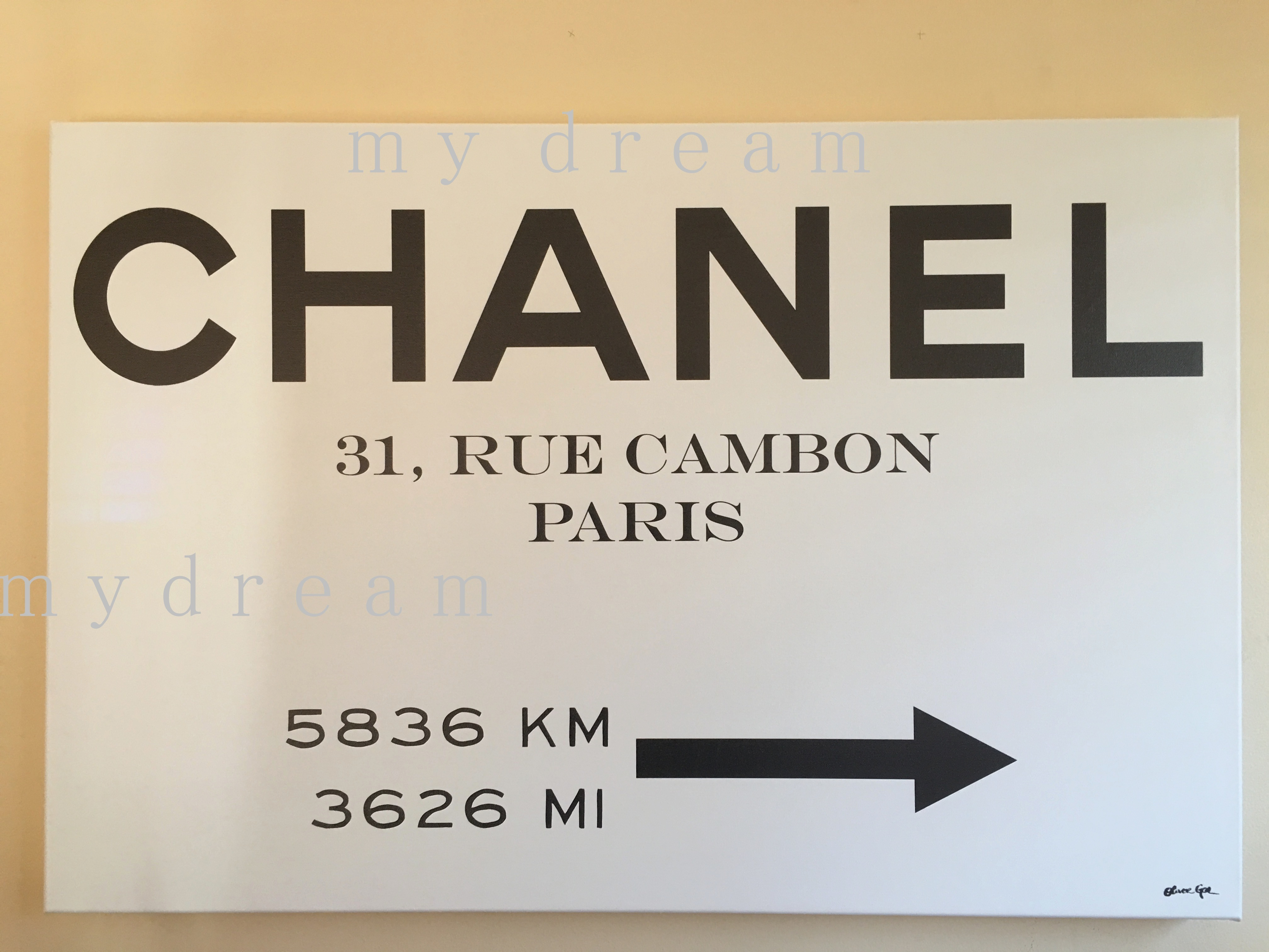Oliver Gal 'Couture Road Sign Minimalist' CHANEL(4サイズ)