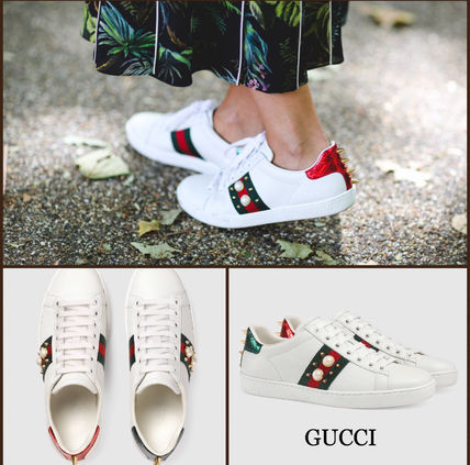 GUCCI Pearl & studded sneakers