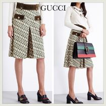 GUCCI(グッチ) ボトムスその他 国内発送★GUCCI★Geometric-print wool and suede skort