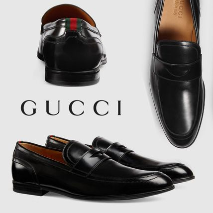 GUCCI Leather Loafer with Web Black