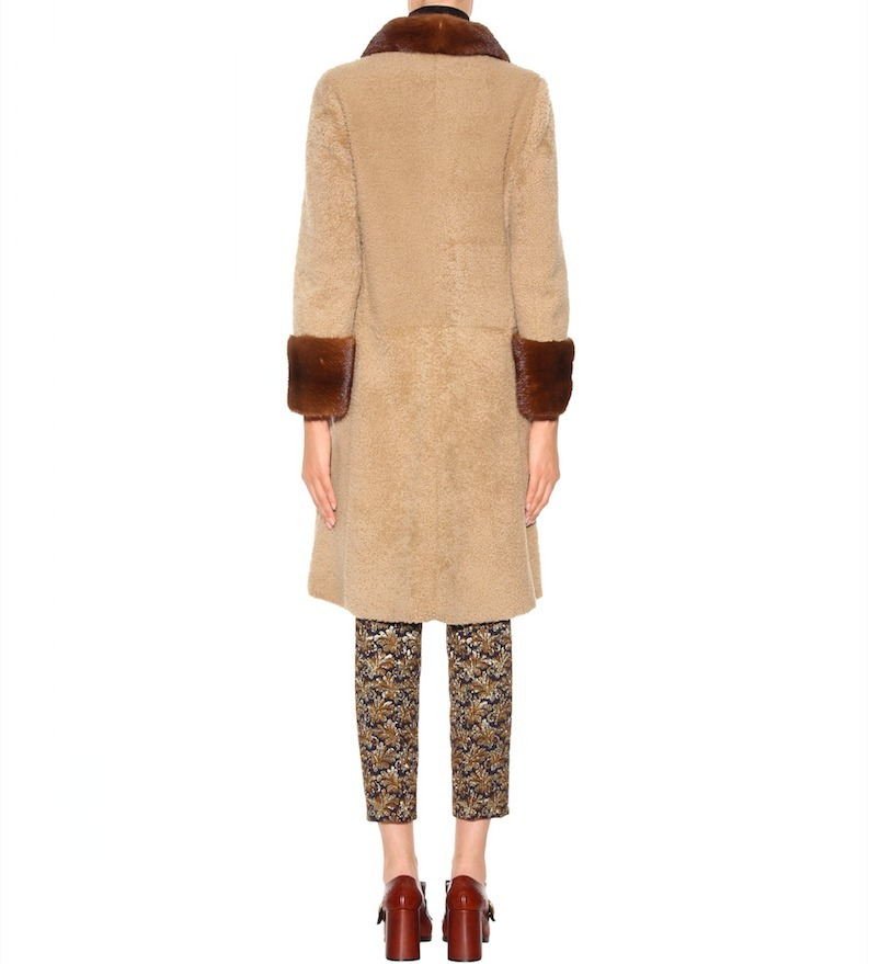 PR156 MINK FUR TRIMMED MOUTON COAT