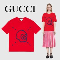 Gucci Ghost Skull Cotton T-Shirt Red