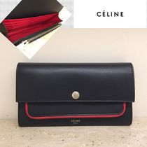 ★2017SS★素敵すぎる★【CELINE】Piping Flap 長財布 (Navy)