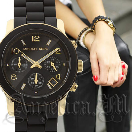 Michael Kors アナログ腕時計 ★安心ヤマト便★Michael Kors Black Polyurethane Watch MK5191