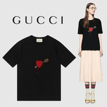 GUCCI Embroidered cotton T-shirt Black