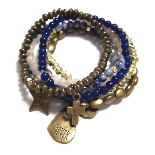 cat hammill Bronze Crystal bracelet set blue