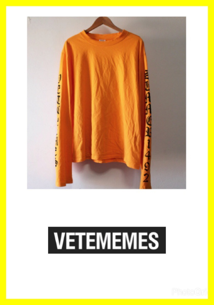 VETEMEMES☆ヴェトモン公認Tシャツ★Orange Long Sleeve Shirt